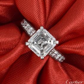 Cartier Solitaire 1895 Asscher Cut Diamond Ring 2.76ct D/IF